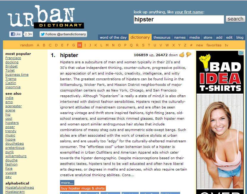 Image gallery hipster urban dictionary for Will urban dictionary