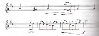 Halbe-A, Viertel gis, Halbe A, punkierte Achtelfigur von oben nach unten, ruhige 3-Viertel-A und dann 2-einhalb-taktige Achtelperiode, am Ende eine Halbe a