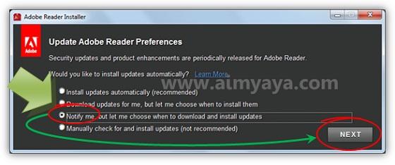 Gambar: Pengaturan konfigurasi update adobe reader otomatis
