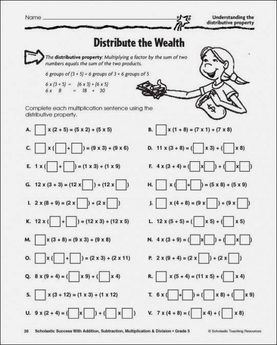 Worksheets Distributive Property Worksheets 5th Grade worksheet 1024768 distributive property of addition worksheets multiplication scalien pro