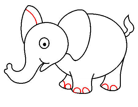 Langkah menggambar gajah