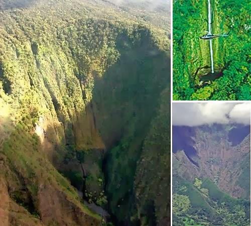 في ماوي، هاواي (لم نتوقع إكتِشاف شلال ضخم)  حيث يوجد في هاوايِ العديد مِنْ المياهِ النشيطةِ أثناء الفصلِ الممطرِ ، تهبط قطرات الشلال على ارتفاع 2,360 قدمُ (719 متر).