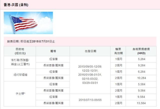 長榮航空 香港飛三藩市/洛杉磯/西雅圖 HK$4,250 (連稅HK$5,284)