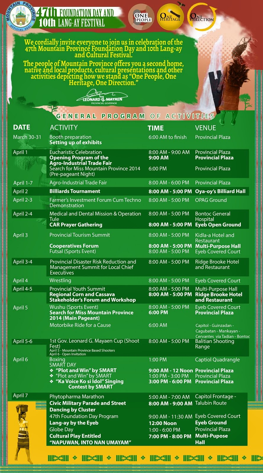 Lang-ay Festival April1-7, 2014