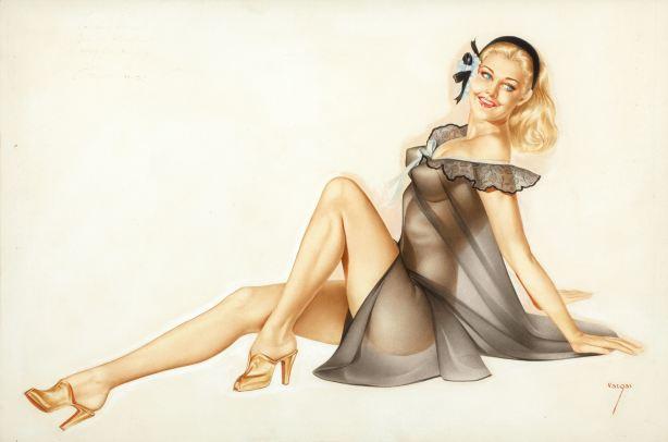 illustration sexy pin up lingerie transparente arlberto vargas