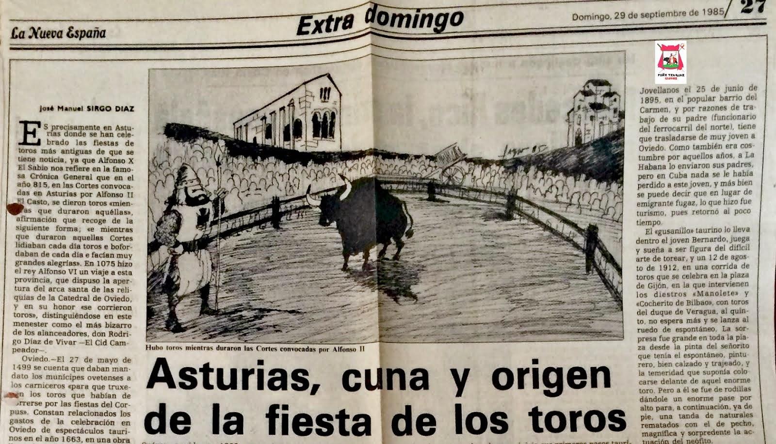 ASTURIAS CUNA Y ORIGEN DE LA FIESTA DE LOS TOROS