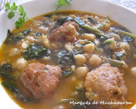 Las recetas del marqu s de muchabarba potaje de garbanzos - Garbanzos espinacas bacalao ...