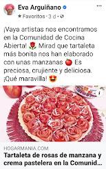 Eva Arquiñano publica en su página oficial mi Tartaleta de Rosas de Manzana y Crema Pastelera
