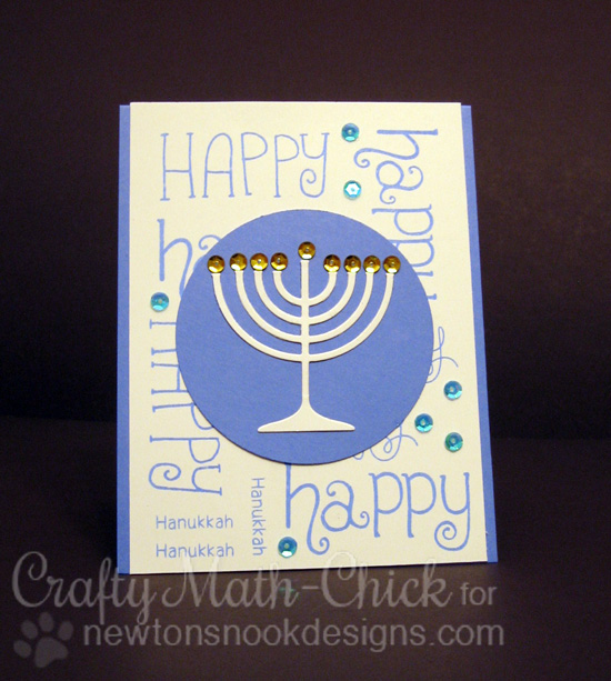 Happy Hanukkah Card by Crafty Math-Chick | Simply Seasonal Stamp set by Newton's Nook Designs #newtonsnook