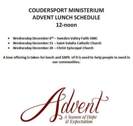 12-13/20 Advent Lunch Schedule
