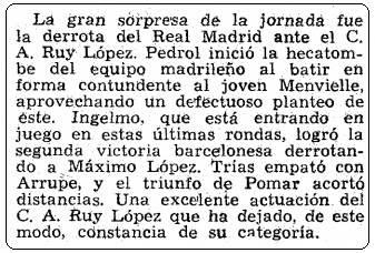 Recorte de La Vanguardia de 28 de septiembre de 1960