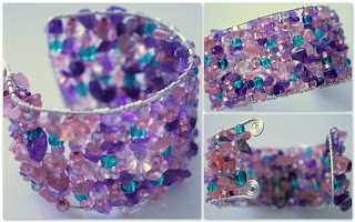 Pink, Purple and green challenge: Spring cuff (sterling silver, amethyst, rose quartz, Czech glass beads) :: All Pretty Things