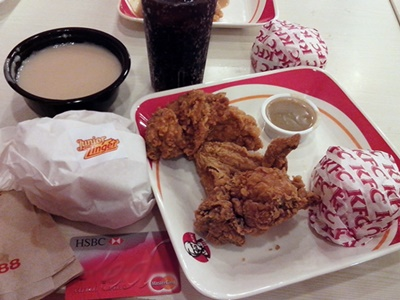 HSBC-rewards, KFC Junior Sandwich, KFC 1-pc Chicken Meal, KFC 1-piece Classic Fully Loaded Meal