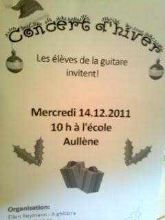concert d'hiver : récital des élèves de la classe de guitare d'Aullène