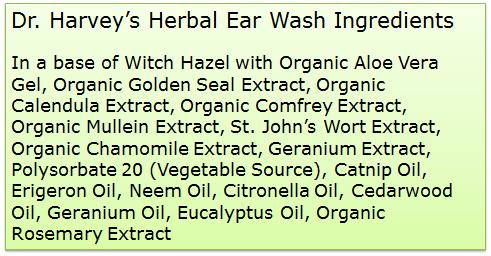 Dr. Harvey's Herbal Ear Wash ingredients
