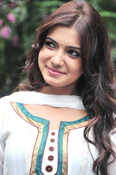 Actress Samantha in Cute in white churidar stills, Churidar Desgins Online