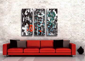 abstract, wall art, black, white, red, blue, green, contemporary