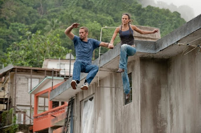 Jordana Brewster and Paul Walker in action