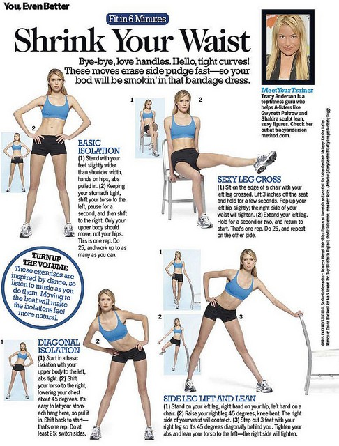 Health and Fitness: 12 Trainer Tracy Anderson Workout sheets