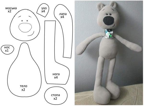 Free downloadable pattern of black nosed bear softie