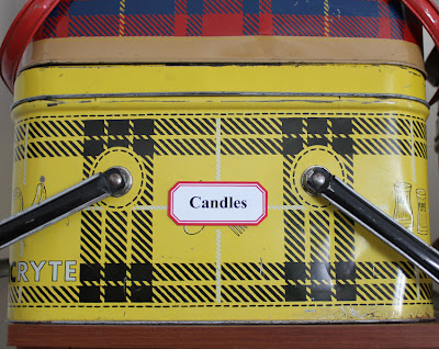 yellow plaid metal picnic basket