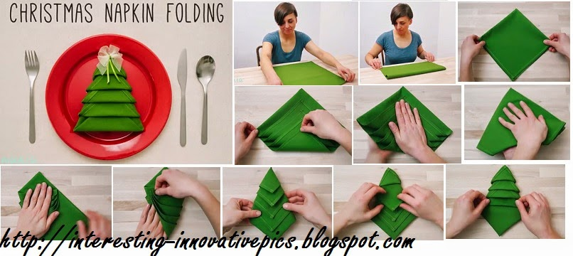 Simple christmas tree napkin folding video tutorial Diy christmas table decorations