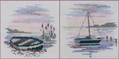 Derwentwater, Rowing Boat, Sailing Boat, вышивка лодка, вышивка осень закат, вышивка миниатюра