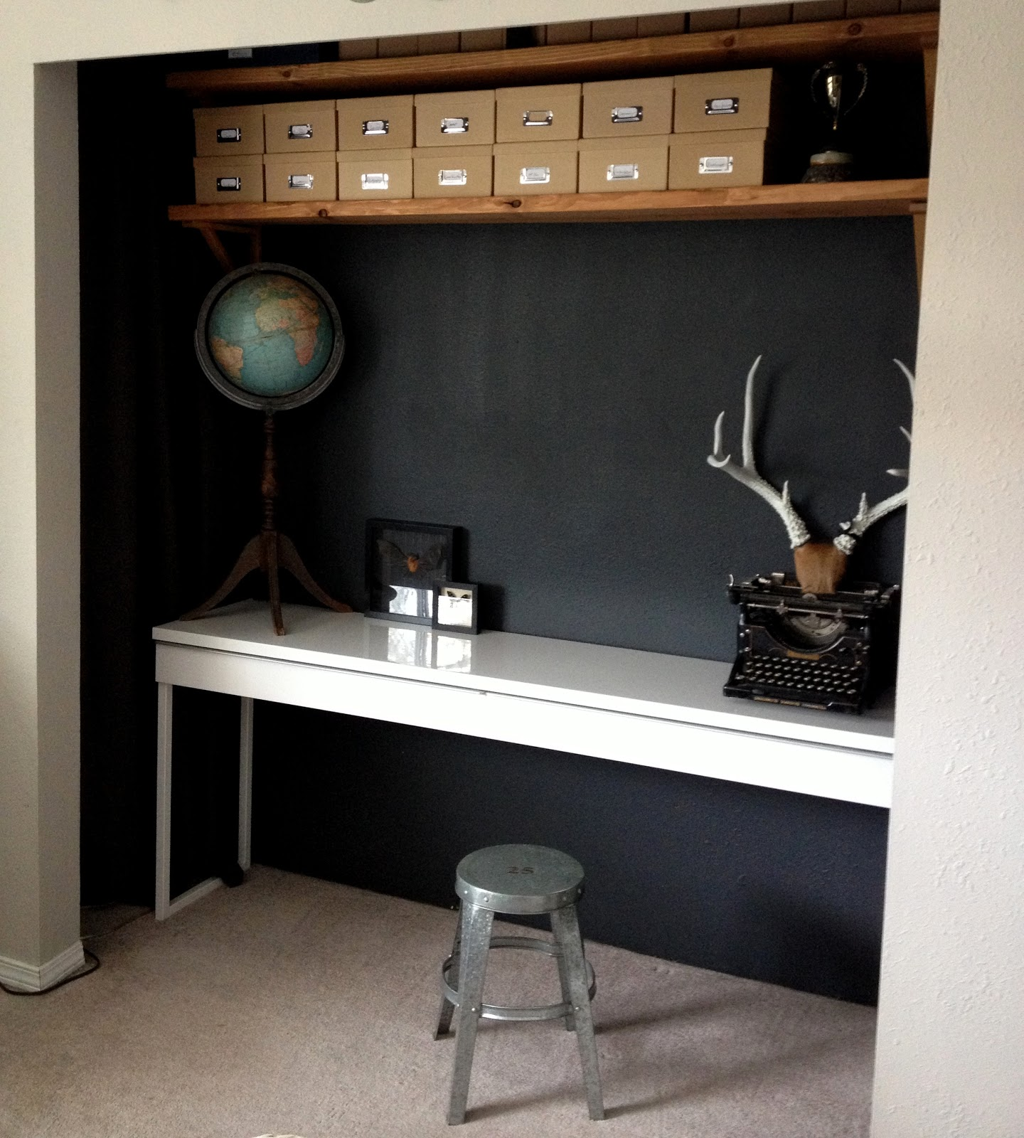 The Desk Is From Ikea But I Was Able To Find It On Craigslist For Half The  Price. I Also Found These Great Curtains At Ikea That Matched The Wall  Color ...