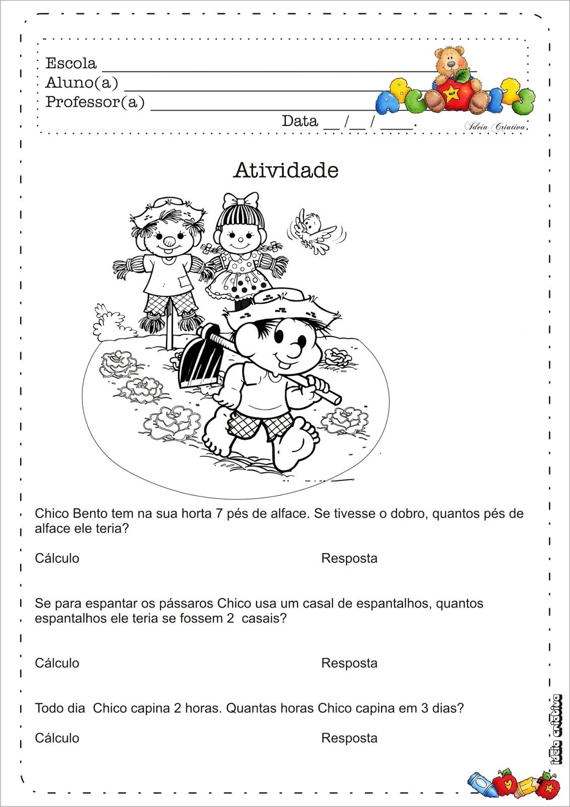 Atividade Resolução de Problemas Horta na Escola Chico Bento.