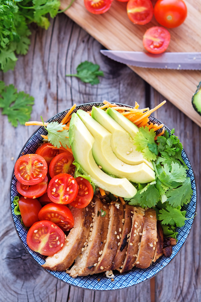 Soy-Lime Chicken Bowls with Cilantro Lime Dressing