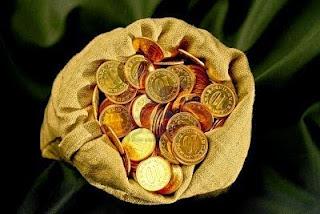 Bolsa con monedas de oro