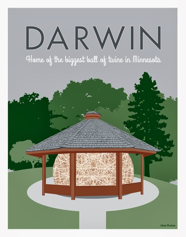 Darwin Minnesota Home Of The Biggest Ball Of Twine In Minnesota - MN Roadside Attraction Travel Poster