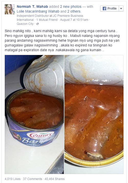 Maggots inside Century Bangus with Tausi FB post