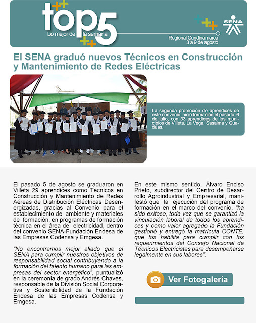 El SENA graduó a nuevos Técnicos en Construcción y Mantenimiento de Redes Eléctricas