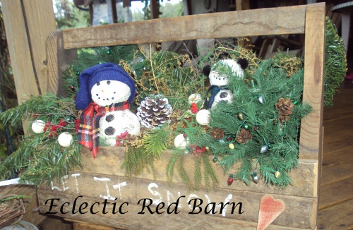 Wooden Tool Box Christmas Decor with Snowman