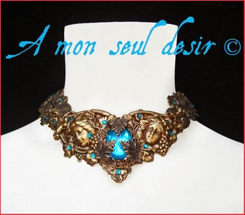 Collier mythologique elfique féerique antique bronze déesse naïade nymphe dryade océanide elven fairy jewellery nymph goddess necklace