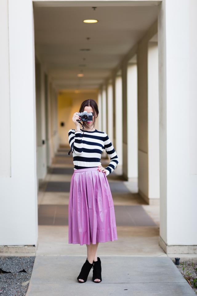 striped top with pink taffeta midi skirt via M Loves M @marmar