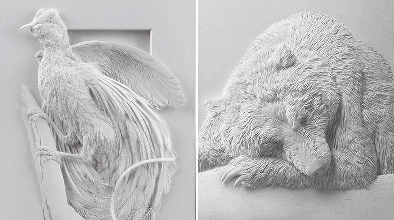 Delicadas esculturas de aves y otros animales de papel en capas de Calvin Nicholls