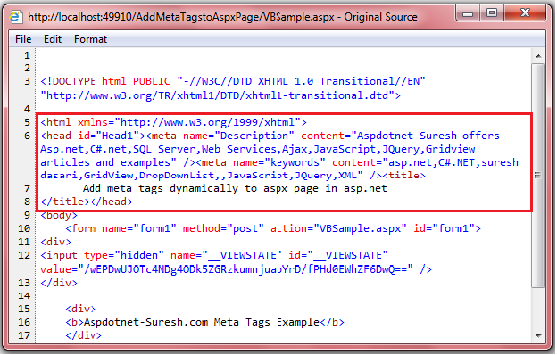 Add Meta Tags to Content Page in Asp.net using C#, VB.Net