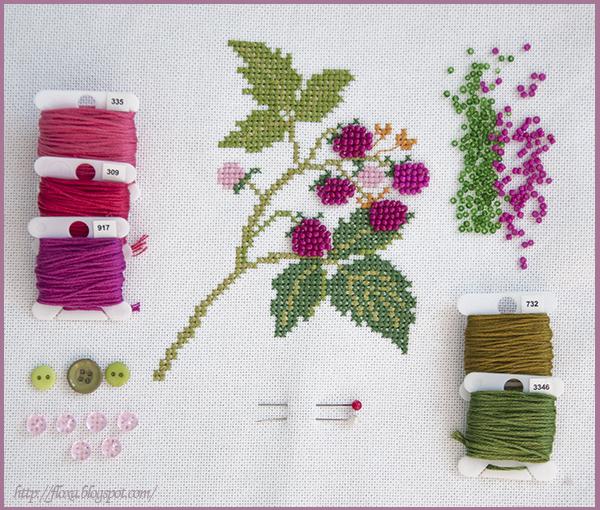 Kazuko Aoki raspberries малина вышивка ягоды