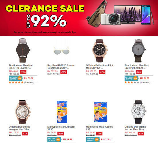 Lazada 2015 Clearance Sale - 92% Discount