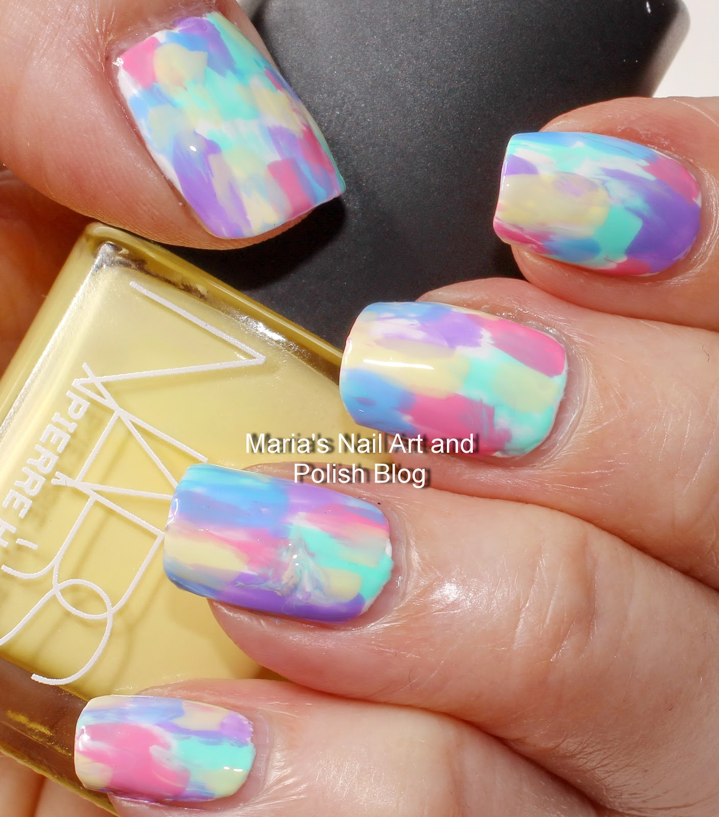 Marias nail art and polish blog pastel brush stroke nail art with a small nail art brush dipped in acetone i blurred the edges partially for a marbled effect before it dried completely the top coat is seche vite prinsesfo Images