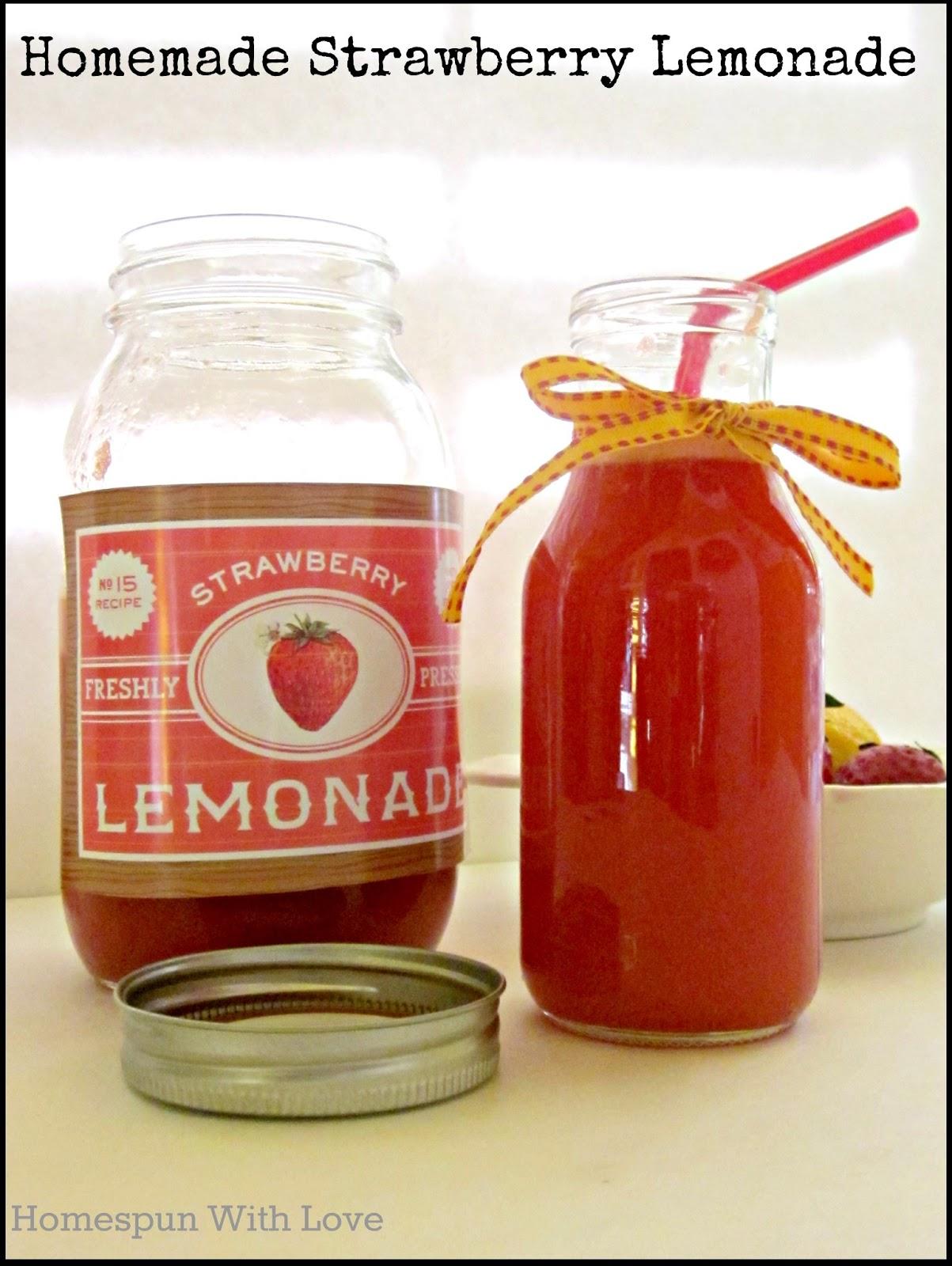 Homespun With Love: Homemade Strawberry Lemonade