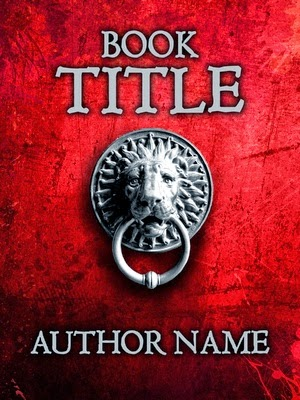 Object art - bold red premade book cover lion head door knocker. Thriller, mystery, pre-designed book cover.