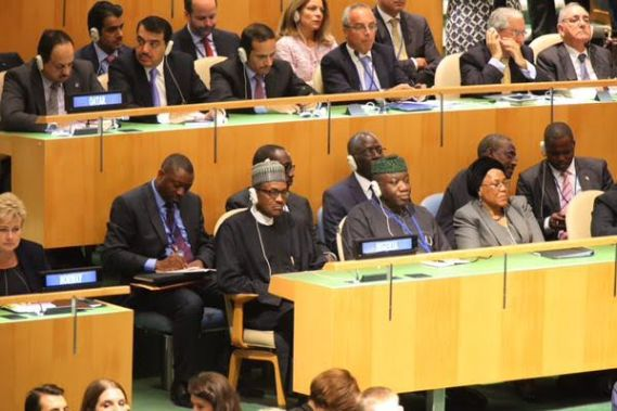 President Buhari seen at the UN General Assembly in New York