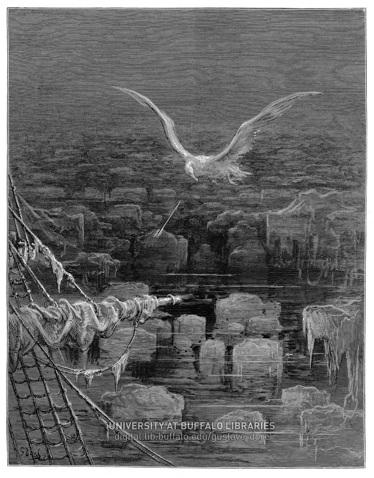 """With my cross-bow I shot the Albatross"" illustration by Gustav Dore"