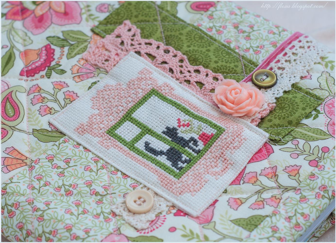 вышивка кот в окне, обложка шитье, обложка для блокнота или тетради