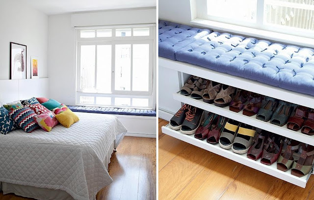 Onde Colocar Penteadeira No Quarto ~ Casa da Sheila Cantinho para guardar sapatos