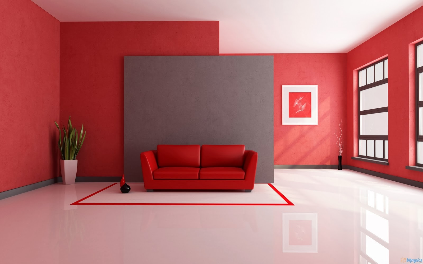 Red Painting In Living Room Interior Design