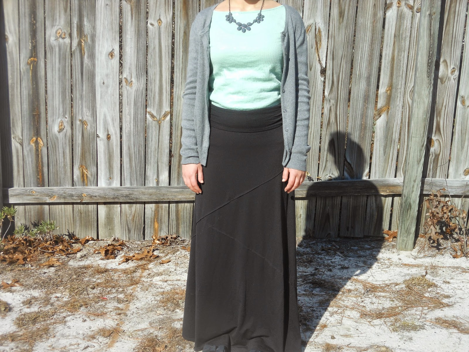 Mint and Grey- Two Ways. Black maxi skirt, mint sequin top, grey cardigan, grey statement necklace, black flats